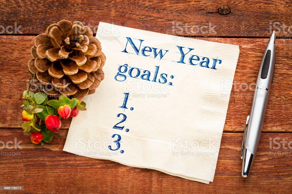 New Years goals list on napkin stock photo