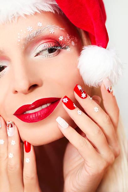 silvester-maniküre und make-up. - nageldesign weihnachten stock-fotos und bilder