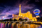 Las Vegas, USA - January 01, 2018: New Year's Night Celebrations on Las Vegas Strip, Fireworks over Planet Hollywood Hotel and Casino