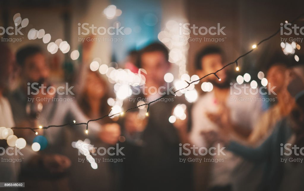 New Year's party at home 4k stock photo