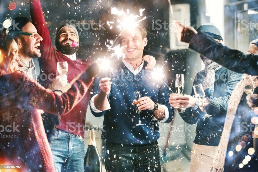 New Year's party. stock photo