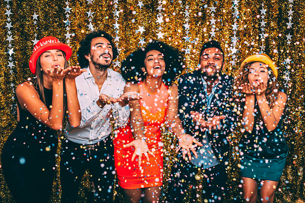 new year's party - office party stock pictures, royalty-free photos & images