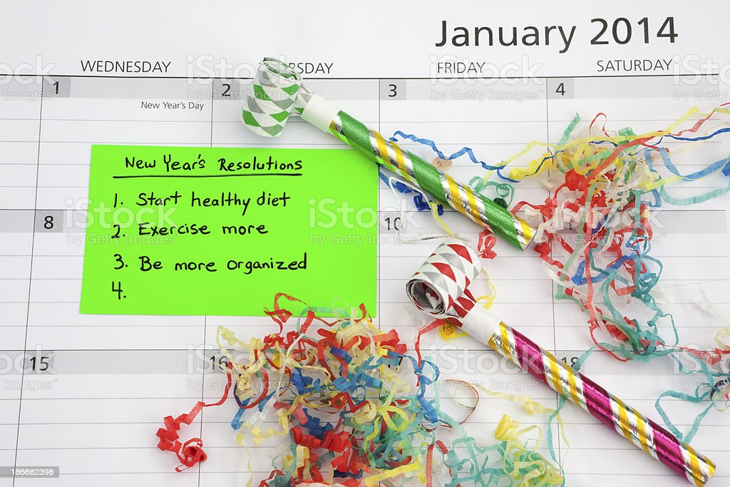 New Year's Resolution Calendar royalty-free stock photo