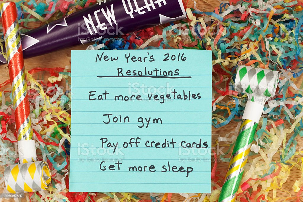 New Year 2016 Resolutions for a healthy lifestyle and paying off...