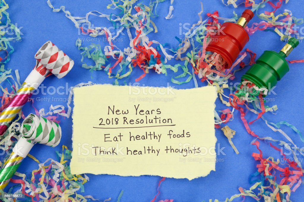 New Years Resolution: Healthy Eathing and Positive Emotions stock photo