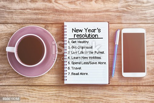 478203597 istock photo New year's resolution list 695619288