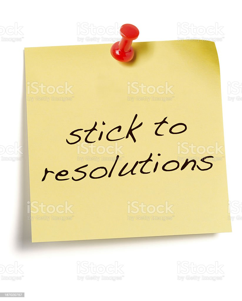 New Year's Resolution Post-it note isolated on white royalty-free stock photo