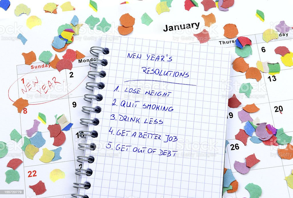 New Year's resolutions and confetti royalty-free stock photo