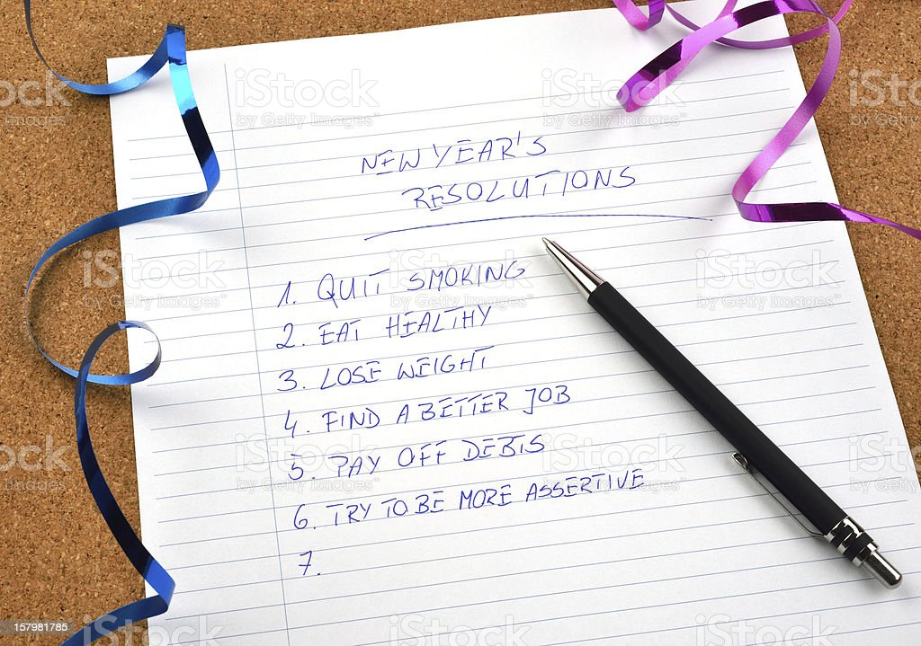 New Year's resolutions and ribbons royalty-free stock photo