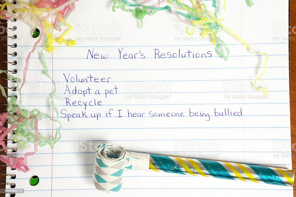 New Year's Resolutions: Caring and Helping stock photo