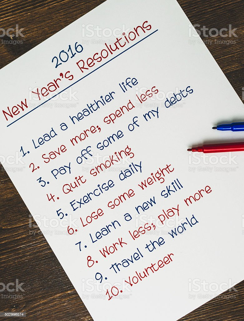 New Year\'s Resolutions list for New Year 2016