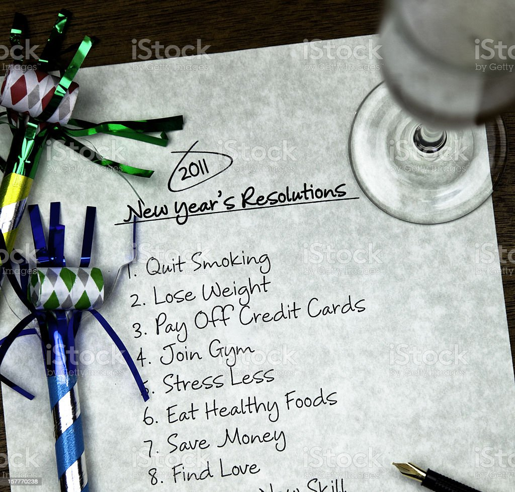 New Year's Resolutions List royalty-free stock photo