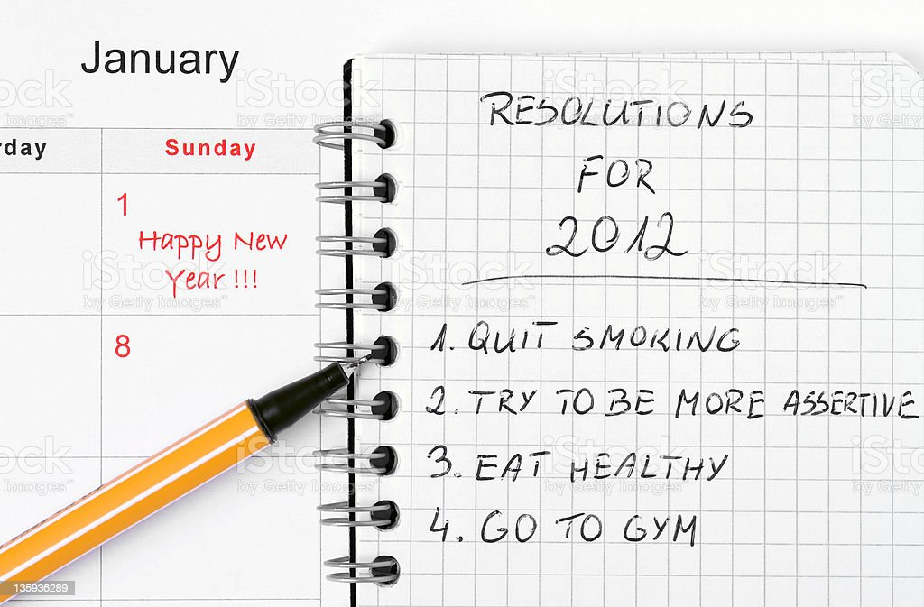 New Year's resolutions listed royalty-free stock photo