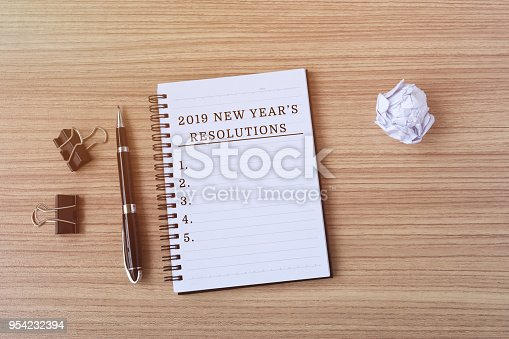 1054929988 istock photo 2019 New Year's Resolutions on notepad 954232394
