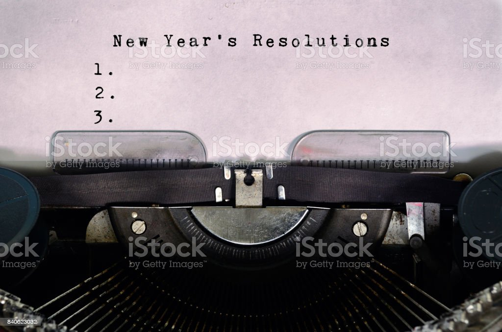 New Year's Resolutions Typed on a Vintage Typewriter stock photo