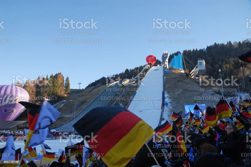 New Years ski jumping event stock photo