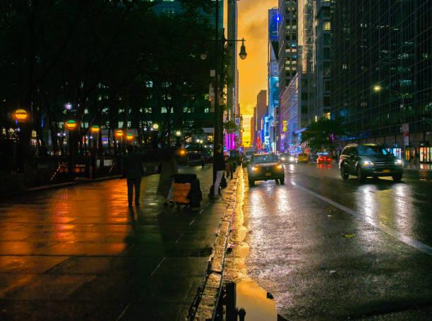 New York 42nd Street at Bryant Park with Orange Sunset Background