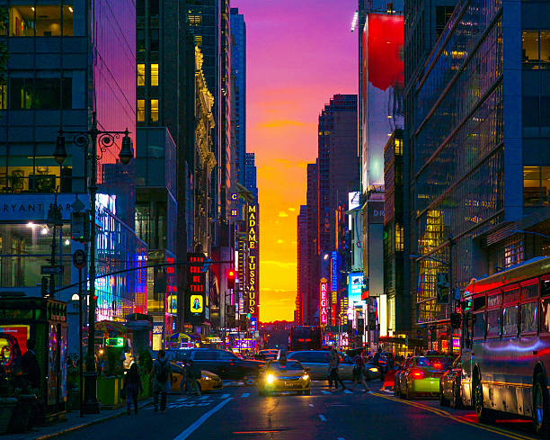 New York 42nd Street in Colorful Rainbow Toned Sunset Background