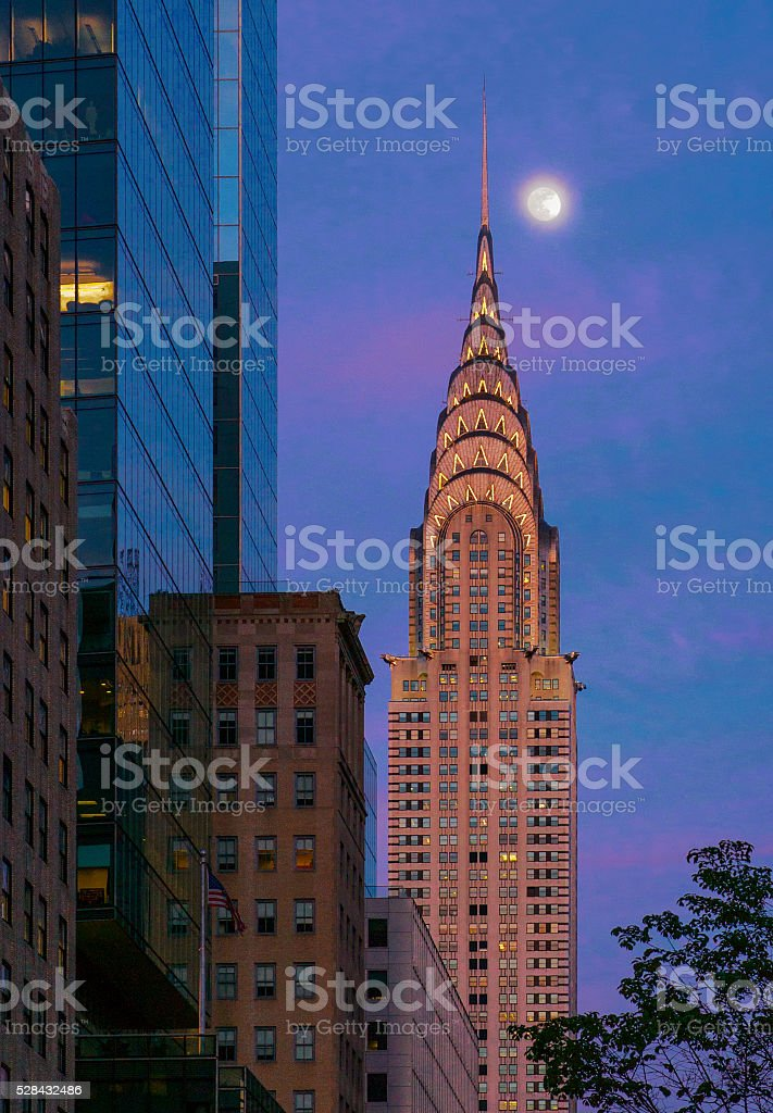 New York 42nd Street in Sunset Twilight with Rising Moon stock photo