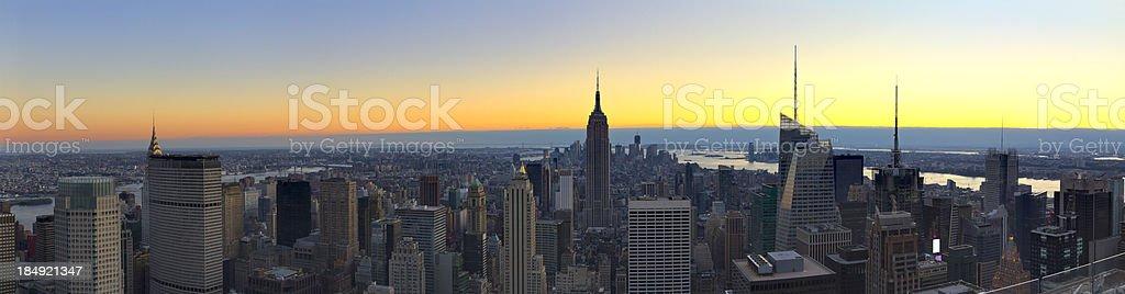 New York - Aerial Panoramic View of Manhattan at Sunset stock photo
