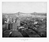 New York and the Brooklyn Bridge, New York City, United States, Antique American Photograph, 1893