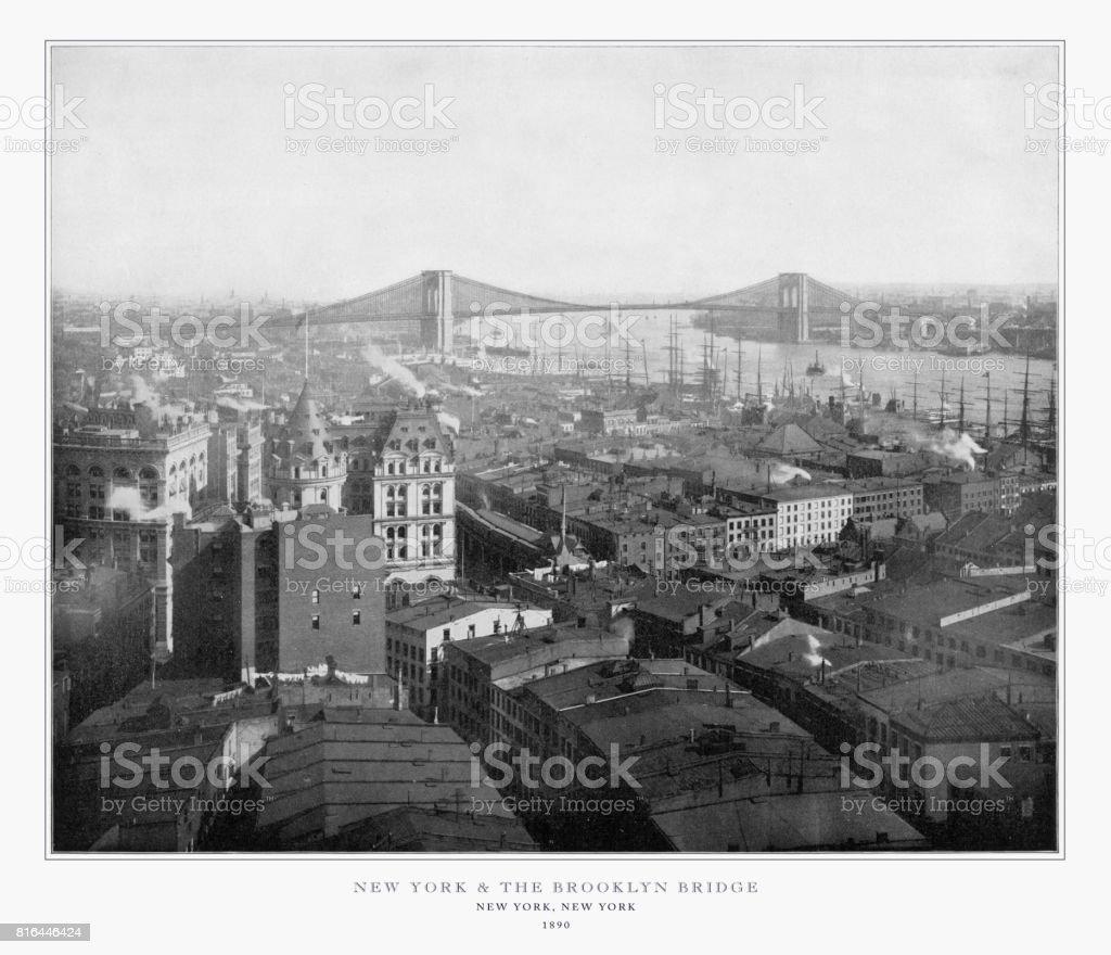 New York et le pont de Brooklyn, New York City, États-Unis d'Amérique, photographie américaine Antique, 1893 - Photo