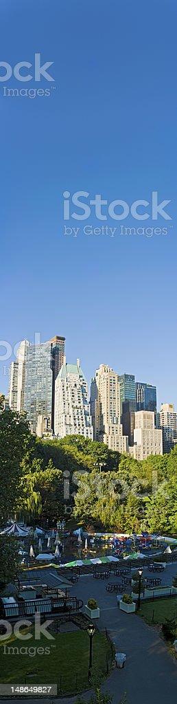 New York banner blue Midtown Manhattan skyscrapers Central Park fairground royalty-free stock photo