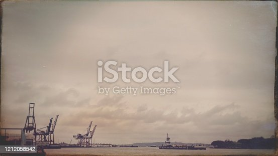 New York Bay with Container Cranes and Barge - Antique Style