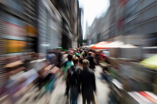 New York Boardway People Shopping Stock Photo - Download Image Now