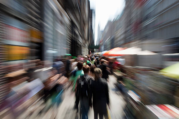 new york boardway people shopping stock photo