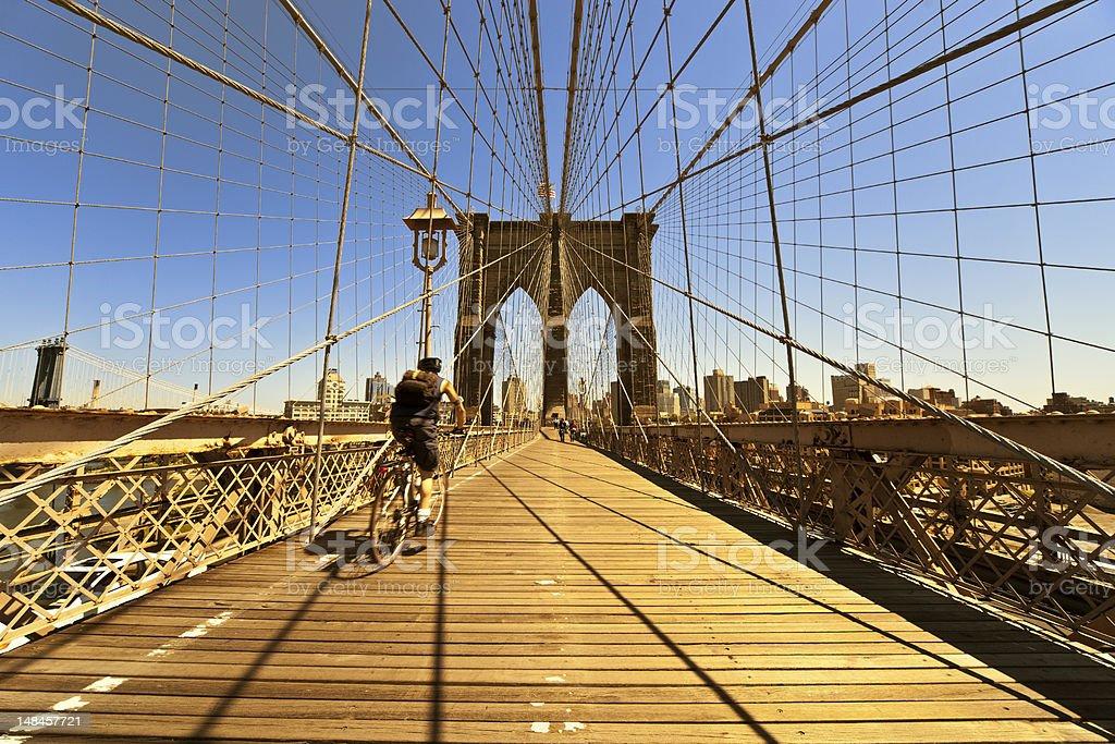 new york brookly bridge in warm evening light royalty-free stock photo