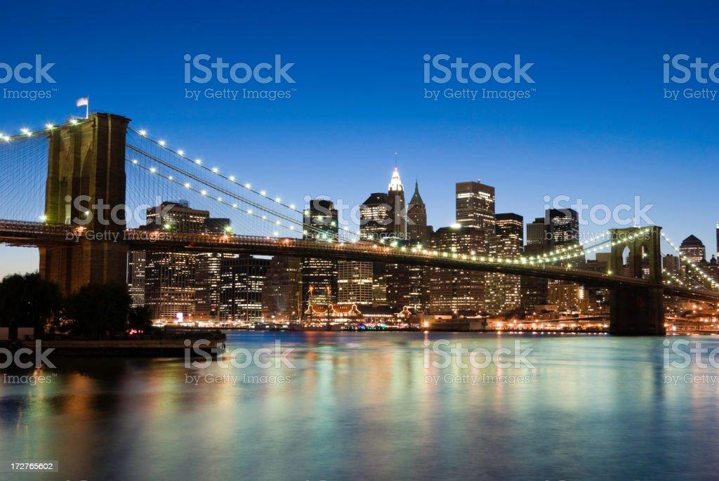 New York - Brooklyn Bridge and Lower Manhattan royalty-free stock photo