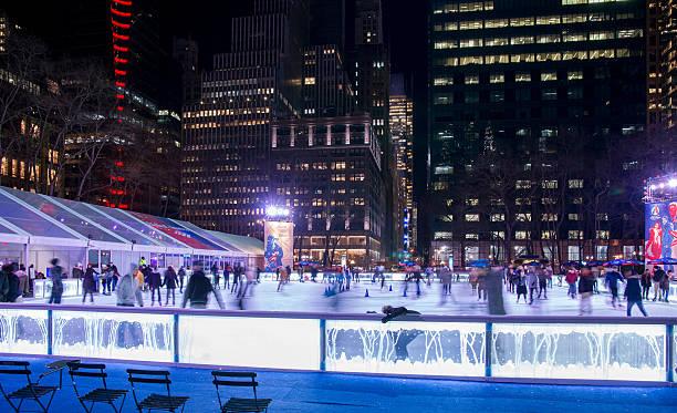 New York Bryant Park Winter Village Ice Skating at Night