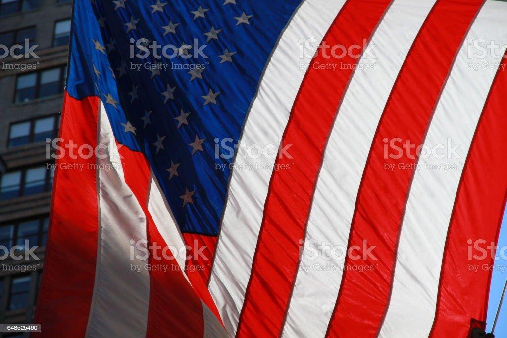USA New York buiding flag stock photo