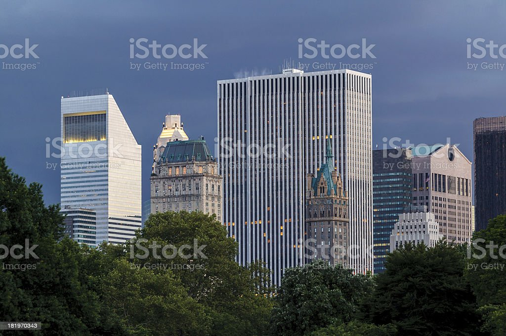 New York buildings at dusk viewed from Central Park royalty-free stock photo