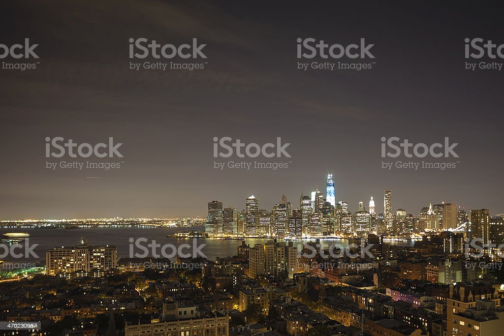 New York by night - WTC in blue royalty-free stock photo