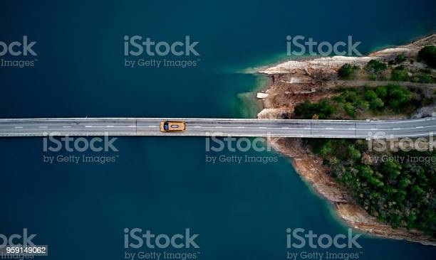 New york cab on a bridge