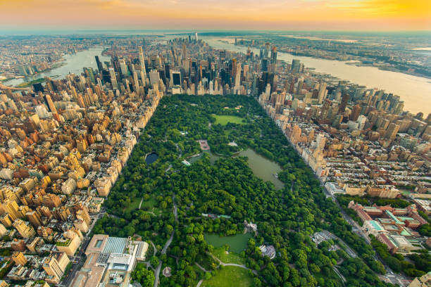 New York Central park aerial view in summer stock photo
