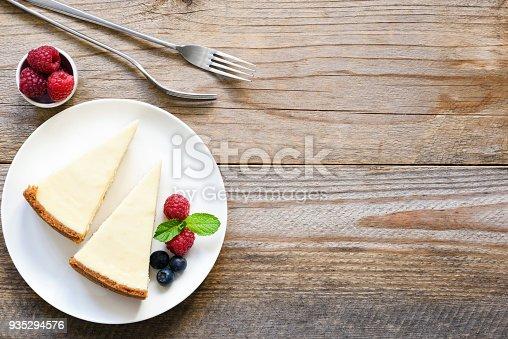 istock New York cheesecake or classic cheesecake with fresh berries on white plate 935294576
