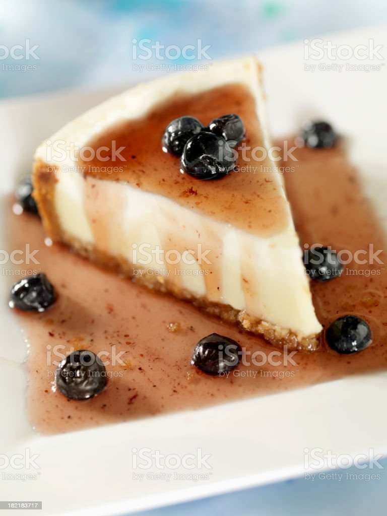 New York Cheesecake with Blueberries royalty-free stock photo