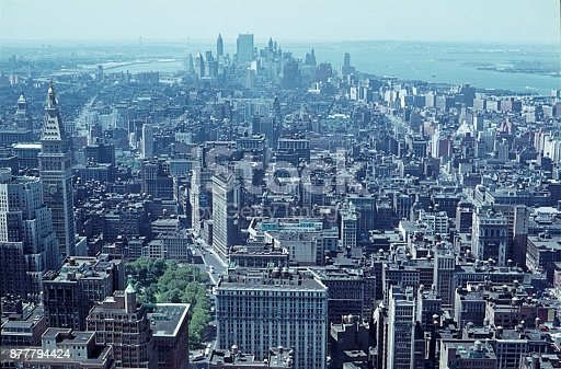 New York City, NYS, USA, 1968. View from the Empire State Building towards Manhattan (southern tip).