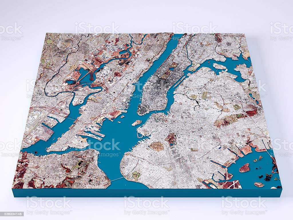 New York City 3d Model Topographic Map Natural Color Frontal Stock