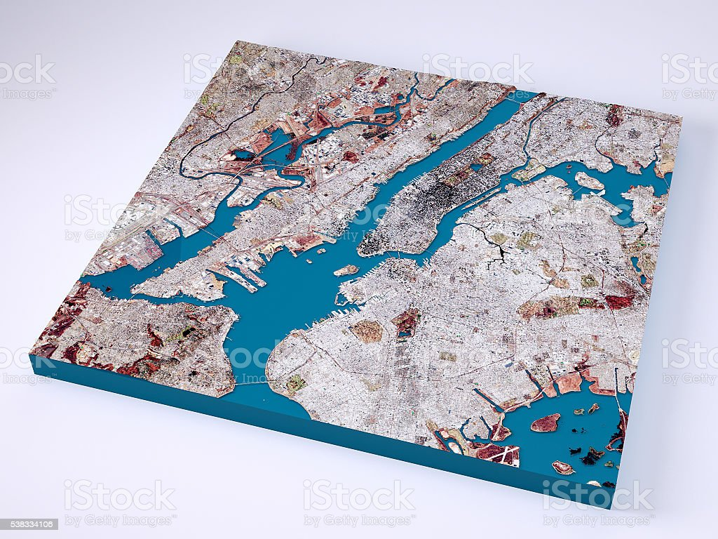 New York City 3d Model Topographic Map Natural Color Stock Photo