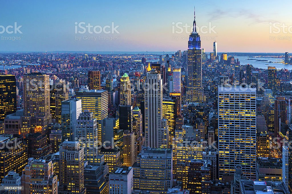 New York City Aerial Skyline at Dusk, USA stock photo