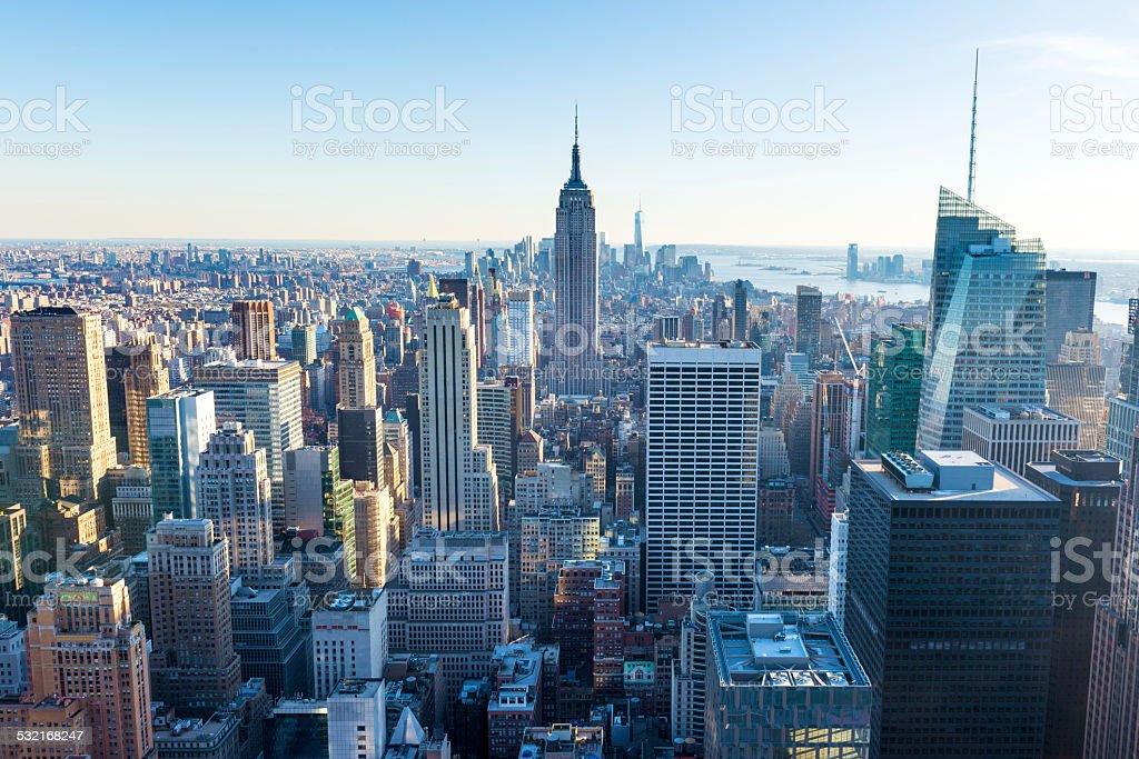New York City Aerial Skyline Manhattan, USA stock photo