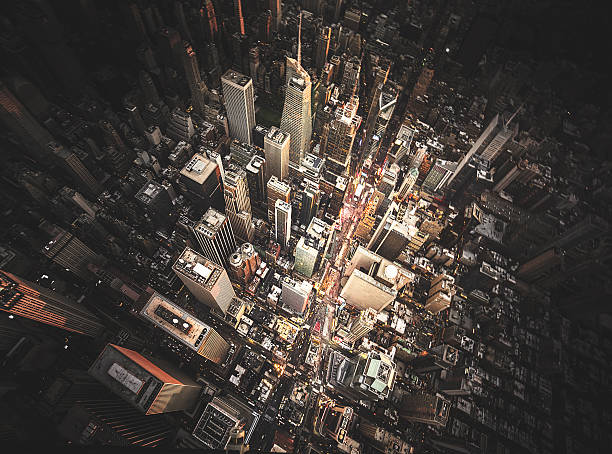 new york city aerial view of the downtown - foto de stock