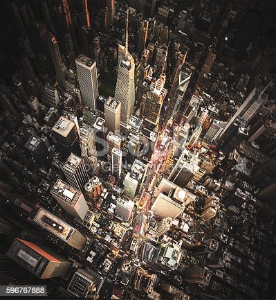 947373704 istock photo new york city aerial view of the downtown 596767888