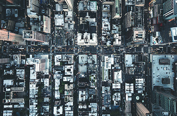 new york city aerial view of the downtown - kruispunt stockfoto's en -beelden