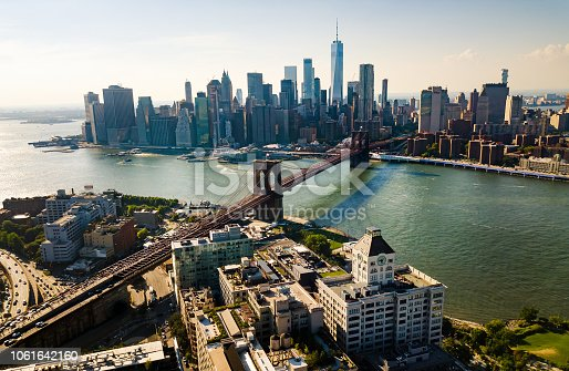 New York city and Manhattan bridge aerial view
