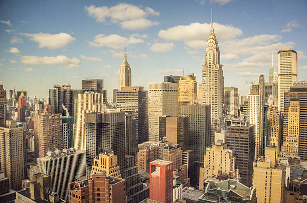 new york city aerial view - chrysler building stock photos and pictures